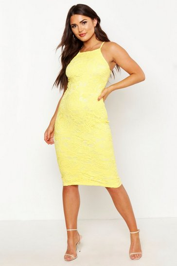 Womens Yellow Lace Sleeveless Midi Dress