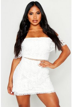 Ivory Lace Off The Shoulder Wrap Bodycon Dress