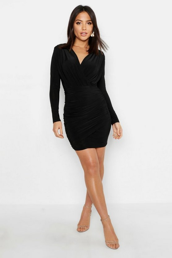 Black Wrap Detail Long Sleeve Bodycon Dress