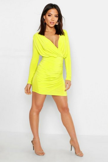 Womens Lime Wrap Detail Long Sleeve Bodycon Dress