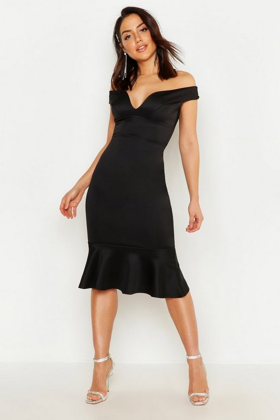 Black Off The Shoulder Ruffle Hem Midi Dress