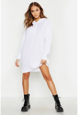 Womens White Oversized Soft Knit Hooded Jumper Dress