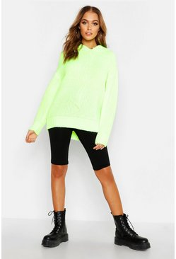 Womens Neon-yellow Oversized Soft Knit Hooded Jumper