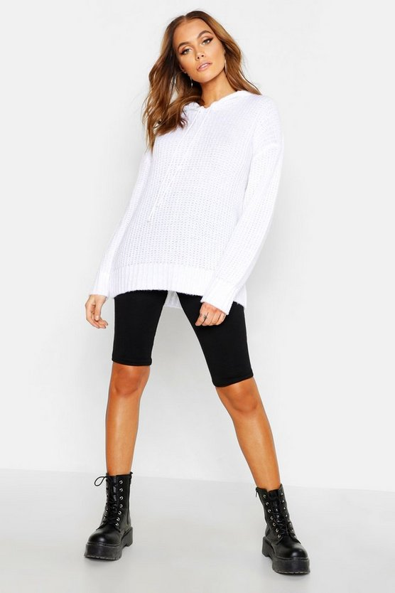 White Oversized Soft Knit Hooded Sweater
