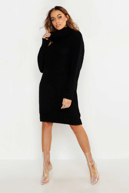 Oversized Roll Neck Soft Knit Jumper Dress