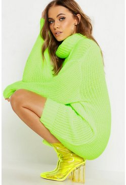 Womens Neon-yellow Oversized Roll Neck Soft Knit Jumper Dress