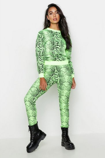 Womens Neon-lime Snake Premium Knitted Lounge Set
