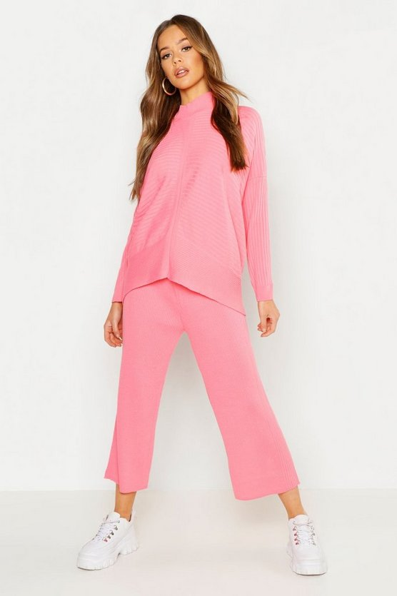 Coral Roll Neck Oversized Wide Leg Knitted Set