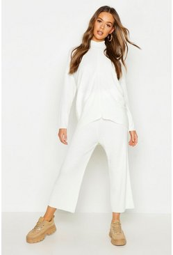 Womens Ivory Roll Neck Oversized Wide Leg Knitted Set