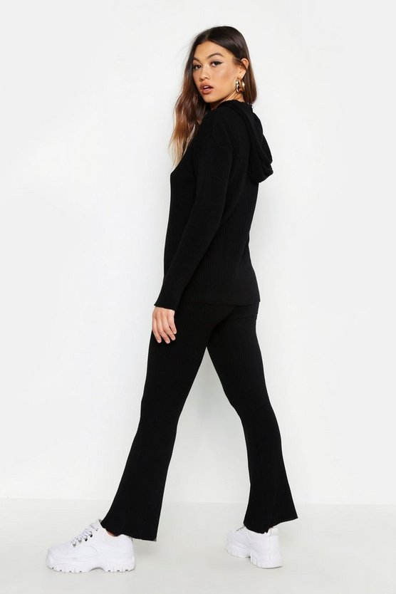 Womens Black Oversized Hooded Knitted Flared Pants Set