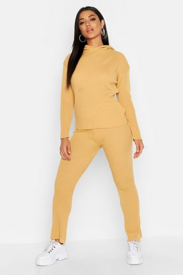 Womens Camel Oversized Hooded Knitted Flared Trouser Set