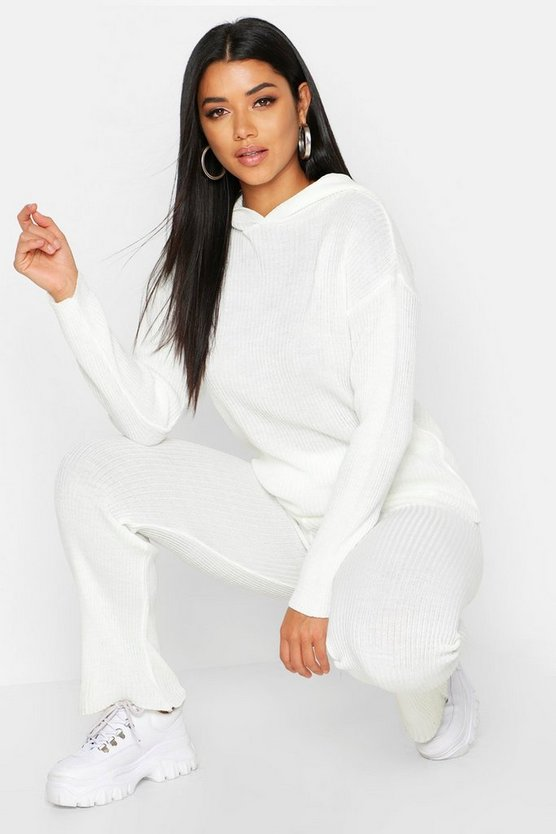Womens Ivory Oversized Hooded Knitted Flared Trouser Set