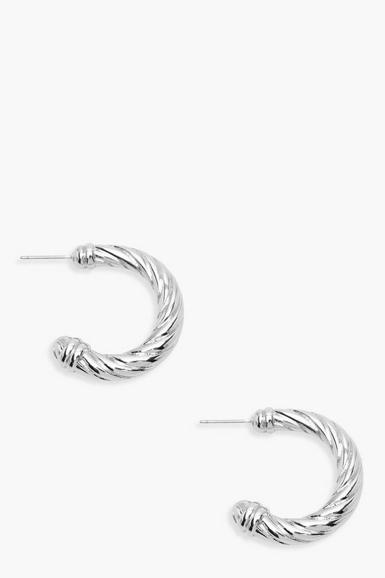 Womens Silver Twisted Small Hoop Earrings