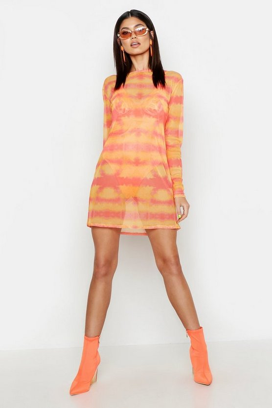 Womens Orange Tie Die Mesh Oversized T-Shirt Dress
