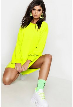 Womens Neon-lime Oversized Raw Edge Sweat Dress