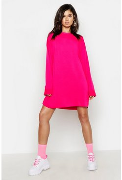 Womens Neon-pink Oversized Raw Edge Sweat Dress