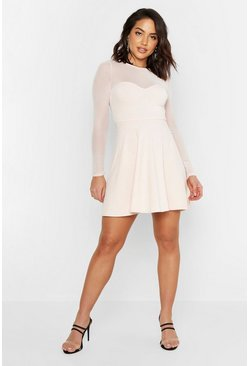 Womens Blush High Neck Mesh Skater Dress