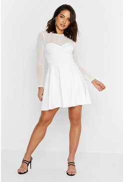 Womens Ivory High Neck Mesh Skater Dress