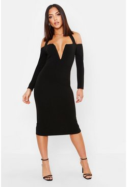 Black Halterneck V Bar Midi Dress