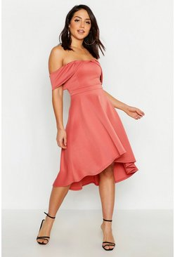 Womens Pink Pleat Detail Asymmetric Hem Midi Skater Dress