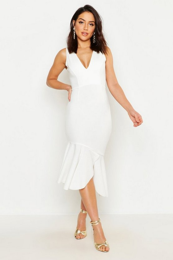Womens White Plunge Front Frill Hem Midi Dress