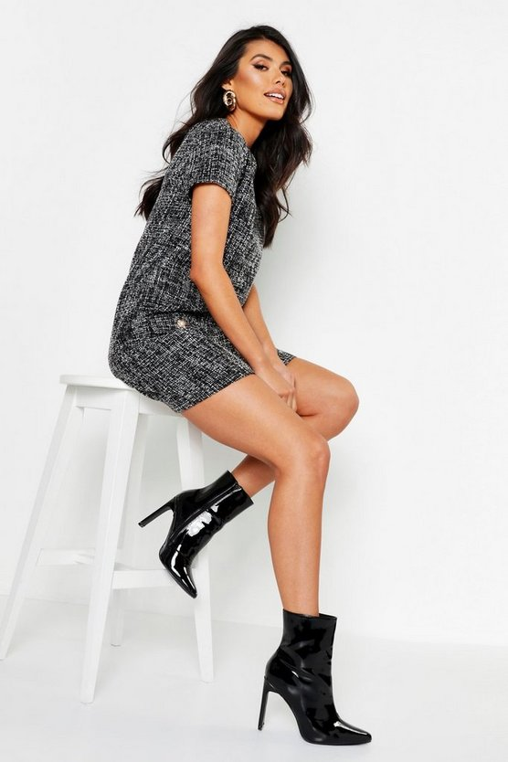 Pearl Trim Boucle Shift Dress by Boohoo