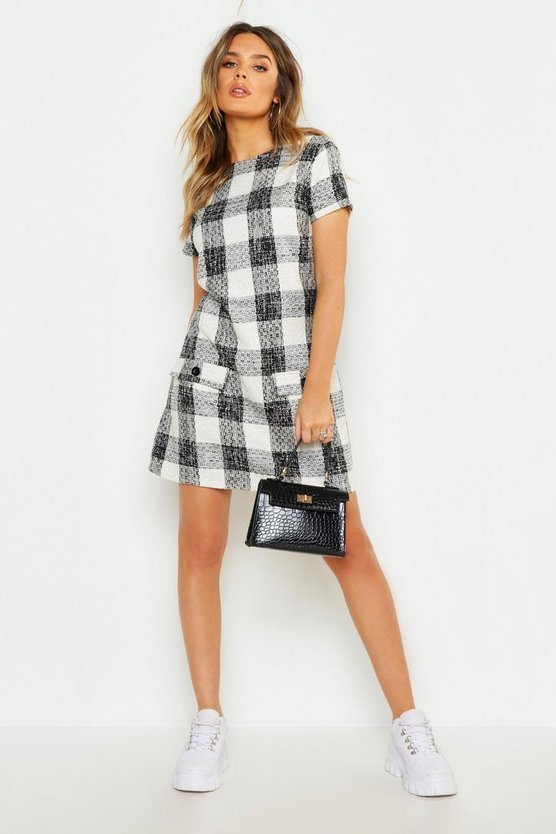 Womens Ivory Boucle Check Mini Shift Dress