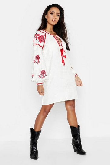 Womens Cream Heavily Embroidered Bohemian Smock Dress