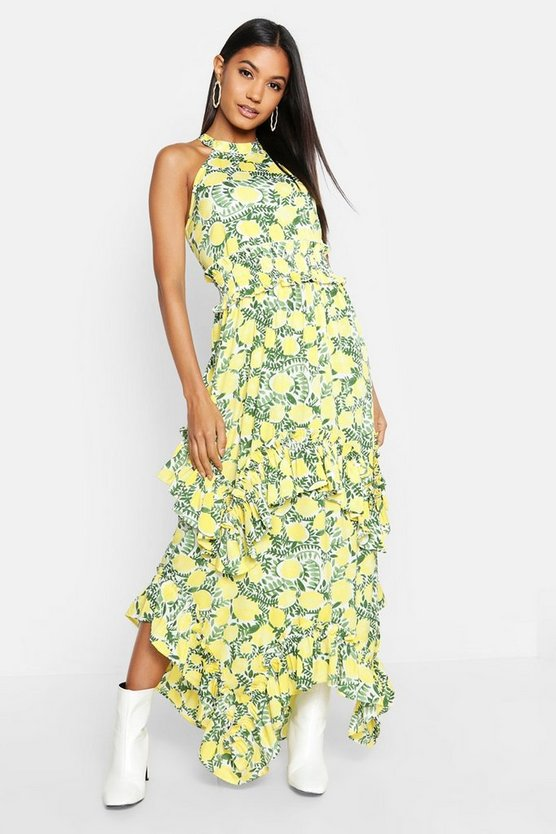 Womens Yellow Ruffle Detail Halterneck Floral Maxi Dress