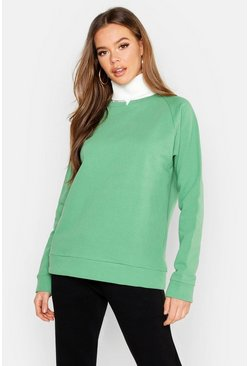 Womens Sage Notch Front High Neck Sweat