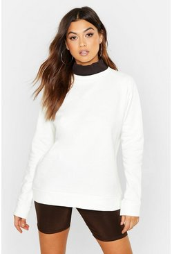 Womens Ecru Rib High Neck Oversized Sweat