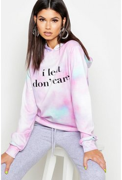 Womens Pink Tie Dye Legit Dont Care Oversized Hoody