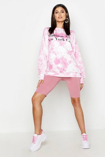 Womens Pink Tie Dye Madison Ave Oversized Sweat