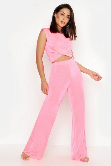 Womens Neon-pink Slinky Knot Front Crop + Wide Leg Co-Ord