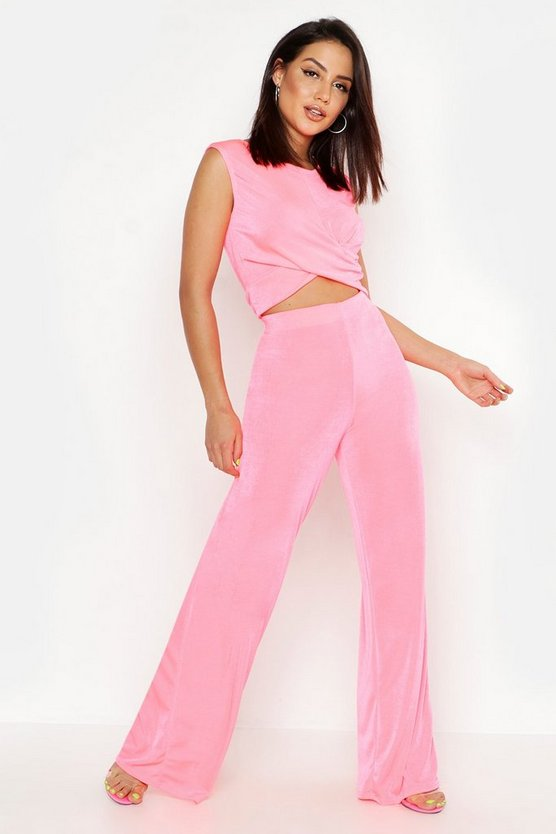 Womens Black Slinky Knot Front Crop + Wide Leg Co-Ord