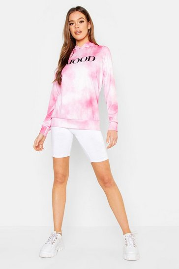 Womens Pink Tie Dye Mood Oversized Hoody