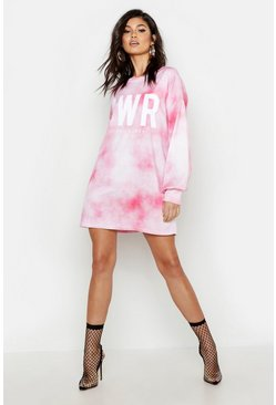 Womens Black Tie Dye Power Oversized Sweat Dress