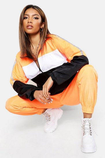 Womens Orange Reflective Panelled Wind Breaker