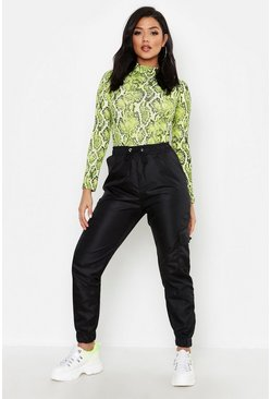 Womens Black Cargo Pocket Track Pant
