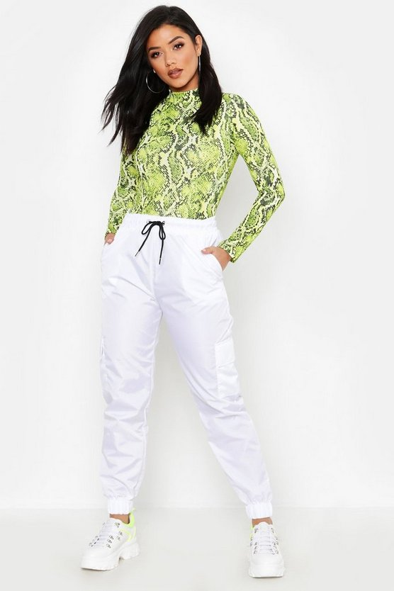 Womens White Cargo Pocket Track Pant
