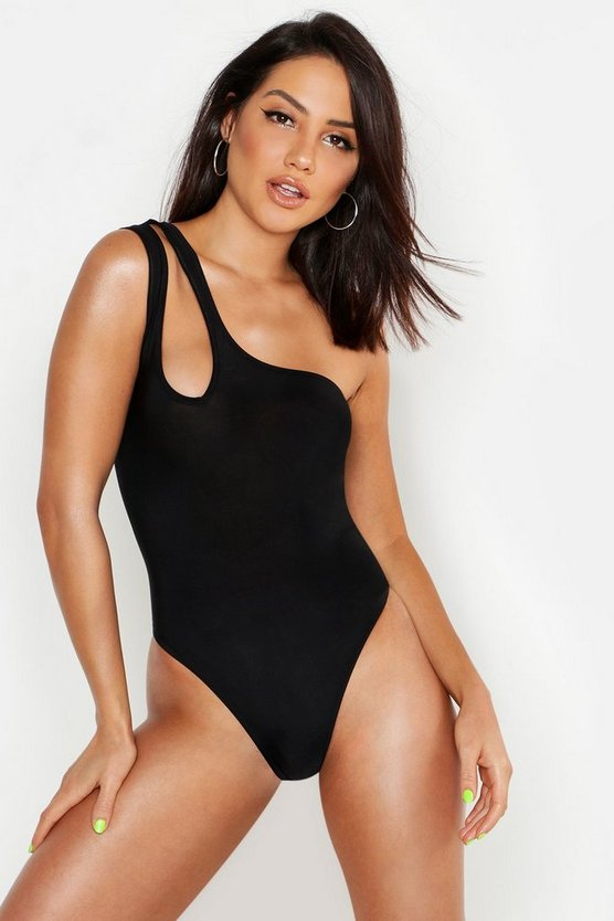 Womens Black One Shoulder Slinky Cut Out Bodysuit