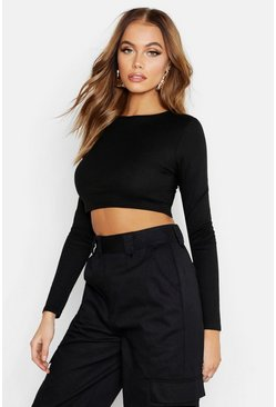 Dam Black Ribbad crop top med lång ärm