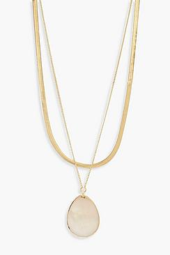 Real Shell Teardrop Layered Necklace
