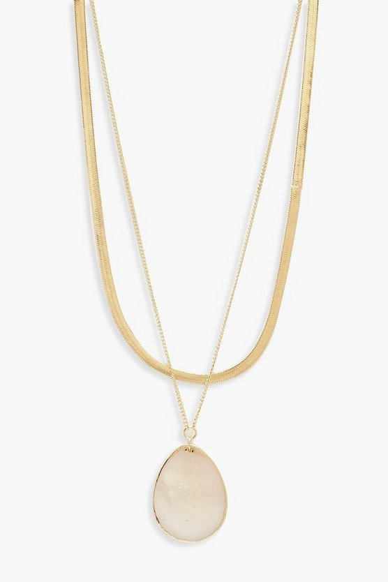 Womens Gold Real Shell Teardrop Layered Necklace