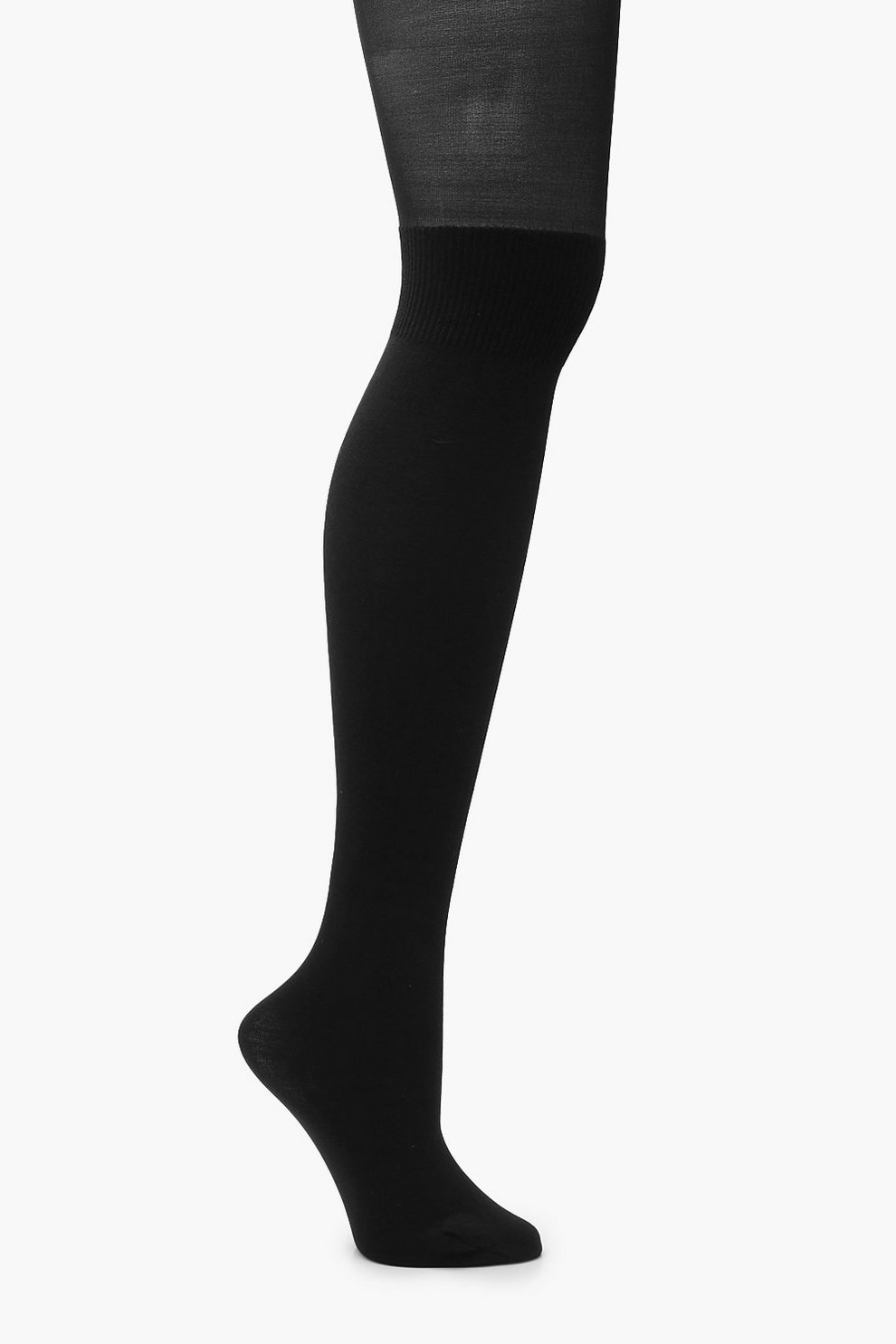 ca89d0458c9 Womens Black Mock Over The Knee Tights