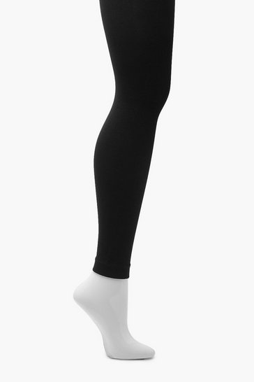 Womens Black Thermal 300 Denier Footless Tights