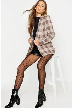 Womens Black Mini Heart Tights