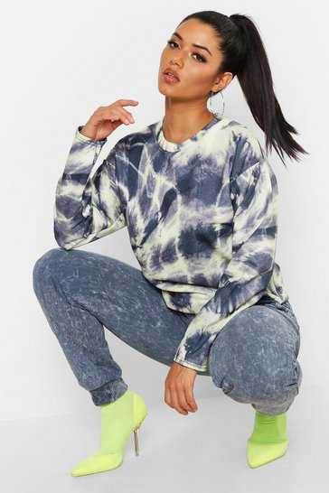 Womens Yellow Tie Dye Oversized Crew Neck Sweat