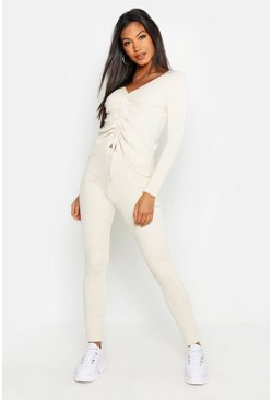 Womens Ivory Ruched Front Rib Knit Set
