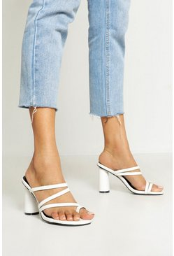 Womens White Cylinder Heel Strappy Mules